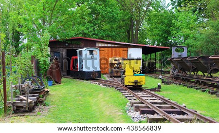 STARY PLZENEC, CZECH REPUBLIC - MAY 14, 2016: Narrow-gauge railway station with locomotives. Outdoor museum in Stary Plzenec, Czech republic, Europe. - stock photo