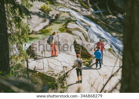 STARY SMOKOVEC, SLOVAKIA - AUGUST 21, 2015: People Hiking in Tatra Mountains, Slovakia