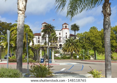 State building and surrounding gardens in Balboa park San Diego California. - stock photo