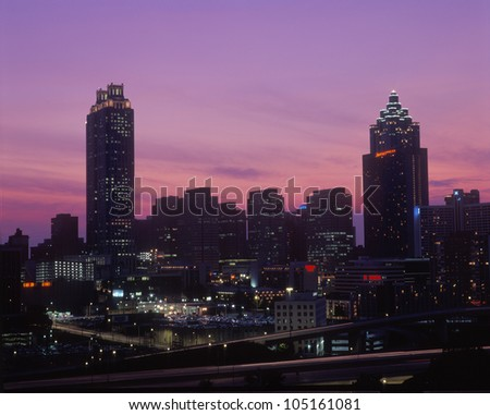 State Capitol and downtown skyline at sunset in Atlanta, Georgia - stock photo