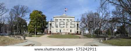 state capitol building and surrounding park, raleigh north carolina - stock photo