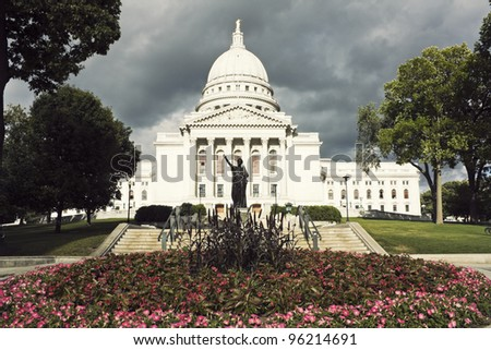 State Capitol Building in Madison, Wisconsin - stock photo
