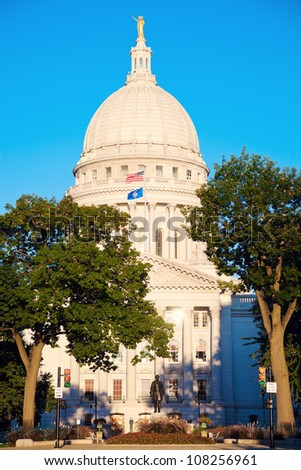 State Capitol Building in Madison, Wisconsin, USA - stock photo