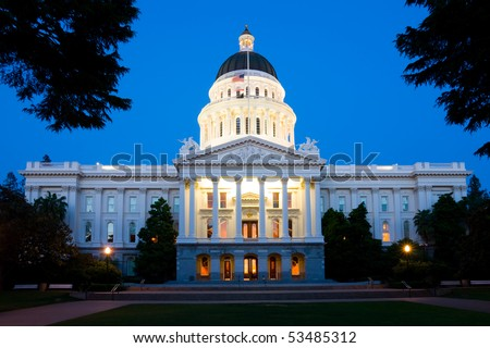 State Capitol Building in Sacramento at night - stock photo