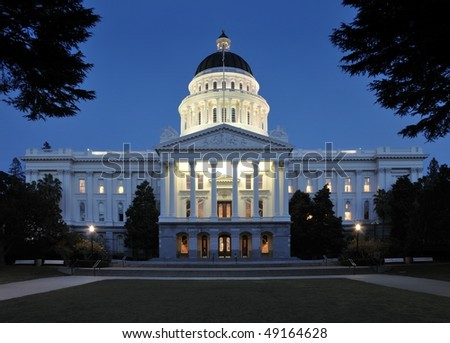State Capitol Building in Sacramento, California at Twilight - stock photo