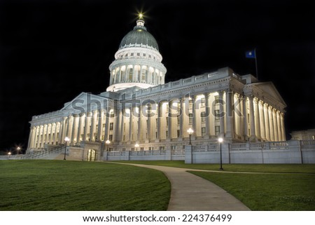 State Capitol Building in Salt Lake City Utah at night. - stock photo