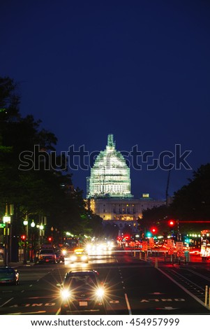 State Capitol building in Washington, DC at night