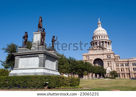 State Capitol building with monument in Austin, Texas - stock photo