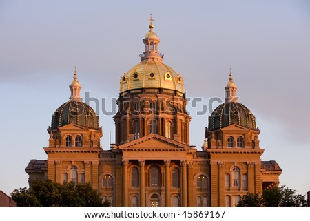 State Capitol in sunset light in Des Moines, Iowa - stock photo