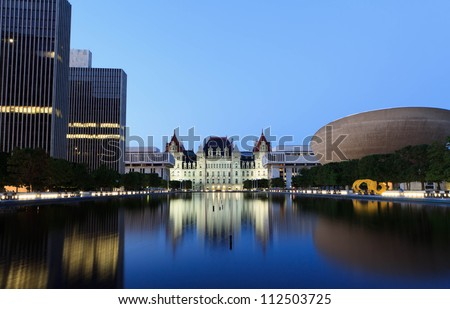 State Capitol of New York, Albany after sunset - stock photo