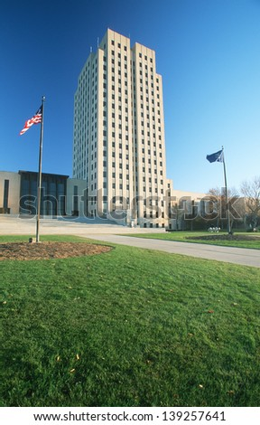 State Capitol of North Dakota in Bismarck, ND - stock photo