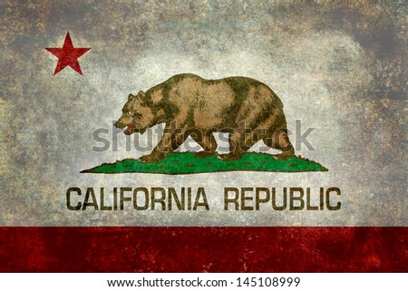 State flag of California - the Bear flag - stock photo