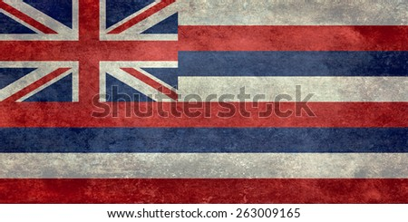 State Flag of Hawaii, Vintage retro 1-2 scale version - stock photo