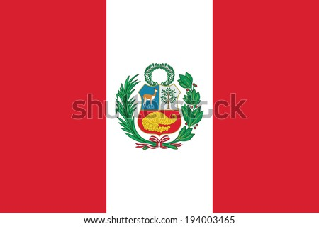 State flag of Peru. Accurate dimensions, elements proportions and colors. - stock photo