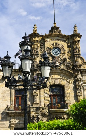 State Government Palace seen from the Zocalo in historic Guadalajara center, Jalisco, Mexico - stock photo