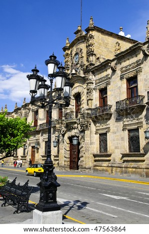 State Government Palace seen from the Zocalo in historic Guadalajara downtown center, Jalisco, Mexico - stock photo