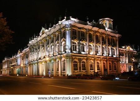 State Hermitage at night (Saint-Petersburg, Russia) - stock photo