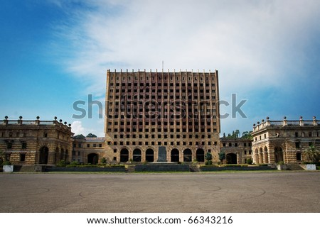 state house in Sukhum after georgia-abkhazian war 1992-1993 - stock photo