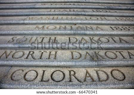 State Names in front of capitol in Baton Rouge, Louisiana. - stock photo