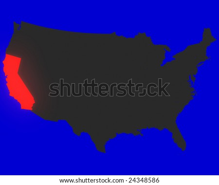 State Of California Highlighted Red