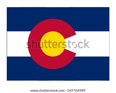 State of Colorado flag map isolated on a white background, U.S.A.  - stock photo