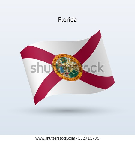 State of Florida flag waving form on gray background. See also vector version. - stock photo