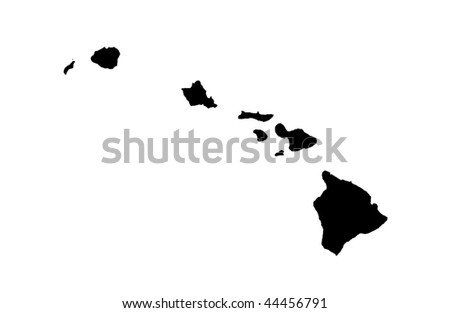 State of Hawaii - white background - stock photo