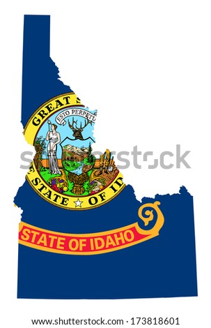 State of Idaho flag map isolated on a white background, U.S.A.  - stock photo