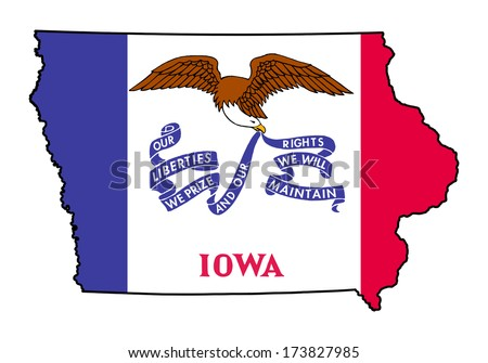 State of Iowa grunge flag map isolated on a white background, U.S.A.  - stock photo