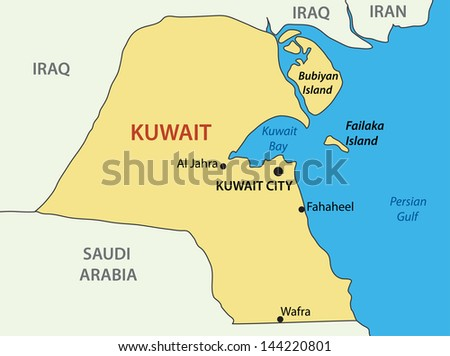 State of Kuwait - map - stock photo