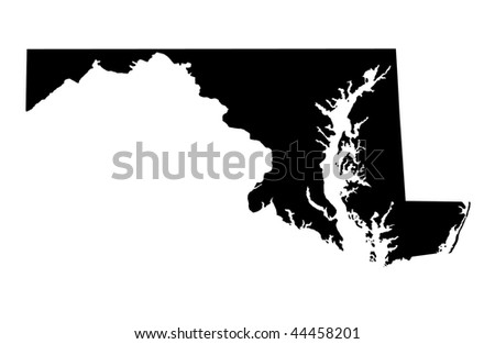 State of Maryland - white background - stock photo