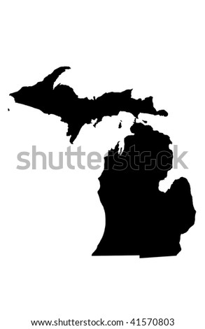 State of Michigan - white background - stock photo