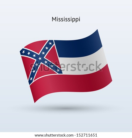 State of Mississippi flag waving form on gray background. See also vector version. - stock photo