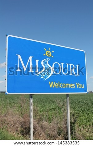 State of Missouri welcome sign at entrance to state
