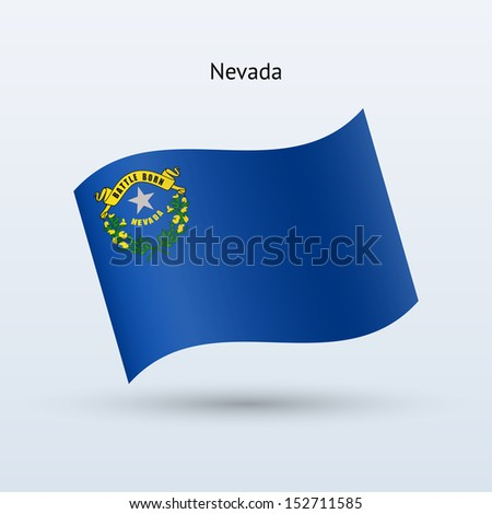 State of Nevada flag waving form on gray background. See also vector version.