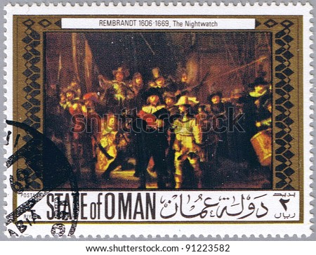 STATE OF OMAN - CIRCA 1969: A stamp printed in State of Oman shows painting by Rembrandt van Rijn - The Night Watch, series, circa 1969 - stock photo