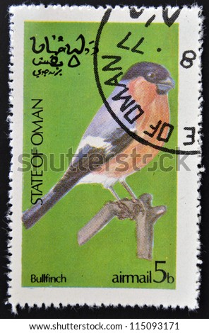 STATE OF OMAN - CIRCA 1977: stamp printed in State of Oman dedicated to the birds shows bullfinch, circa 1977