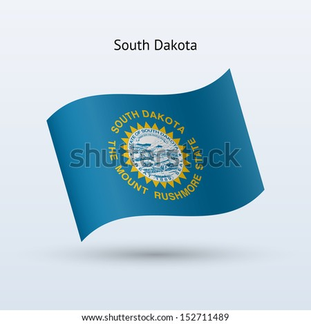 State of South Dakota flag waving form on gray background. See also vector version. - stock photo
