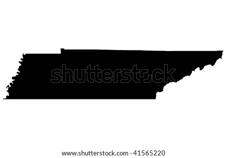State of Tennessee - white background - stock photo
