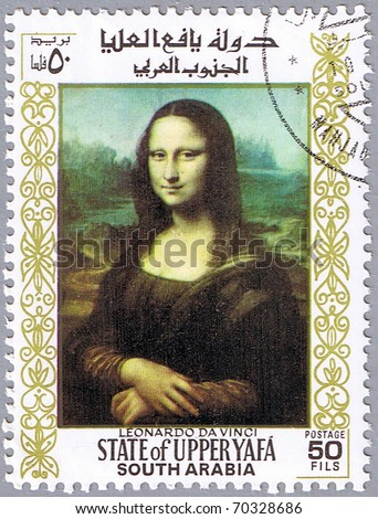 STATE OF UPPER YAFA - CIRCA 1967: A stamp printed in State of Upper Yafa shows painting of Leonardo da Vinci - Mona Lisa, series, circa 1967 - stock photo