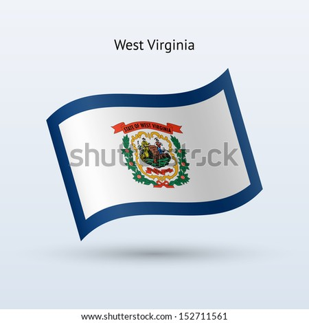 State of West Virginia flag waving form on gray background. See also vector version. - stock photo