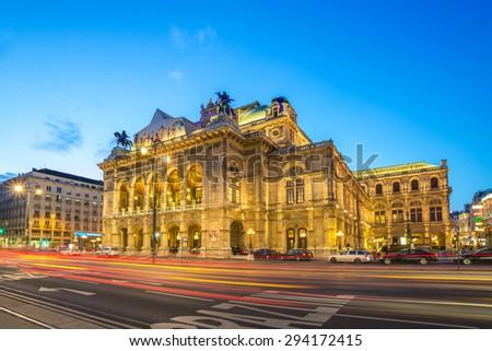 State Opera at night - Vienna - Austria - stock photo