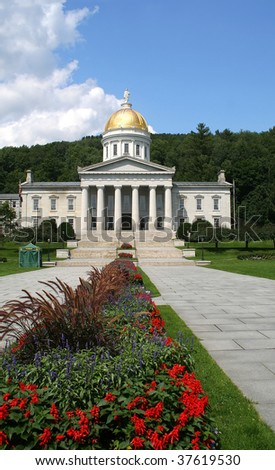 Stately capitol building in Montpelier, Vermont - stock photo