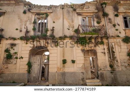 Stately home after the earthquake - stock photo