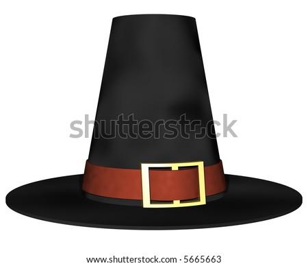 stately pilgrim hat isolated on white - stock photo