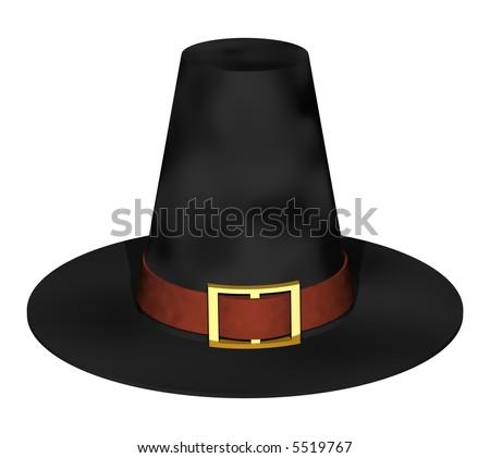 stately thanksgiving pilgrim hat isolated on white - stock photo