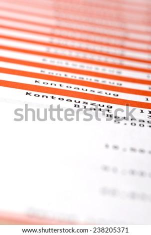 statement of account - stock photo