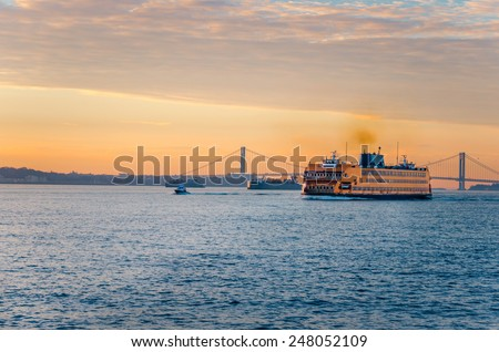 Staten Island Ferry at Dawn in Winter - stock photo