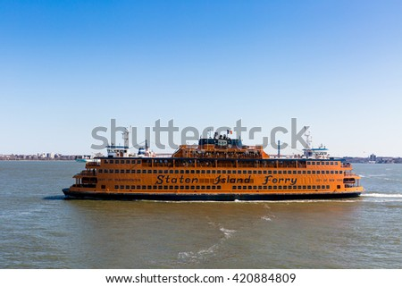 Staten Island, New York, April 13, 2015. The Staten Island Ferry is a passenger ferry service operated by the New York City Department of Transportation.