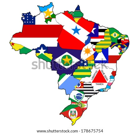 States Regions On Administration Map Brazil Stock Illustration